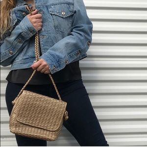 Vintage Retro Leather Golden woven crossbody purse